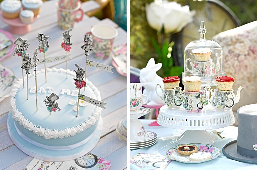 Mit verrückten Alice-im-Wunderland-Cake-Picks und Teekannen-Gebäckständern macht ihr das Alice-Feeling einfach nur perfekt!