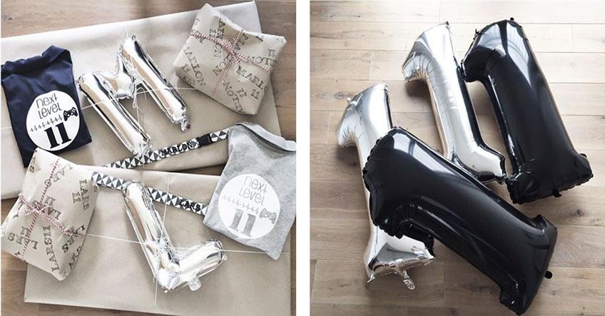 Tolle Idee - Folienballons mit Anfangsbuchstaben und Alter des Geburtstagskindes hübschen die Geschenke auf © Monefaktur