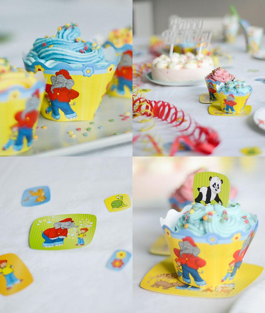 Benjamin Blümchen Cupcakes mit bunten Zuckerstreuseln - fröhlich bunte Tischdeko
