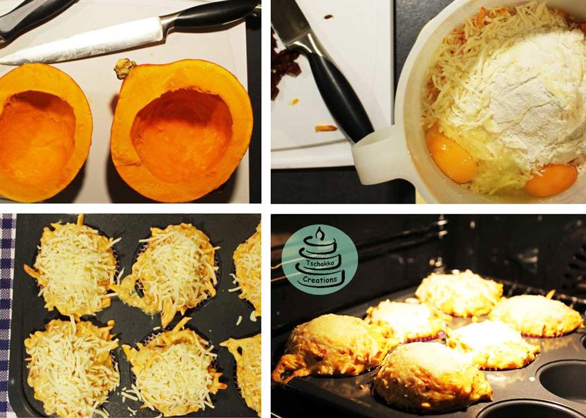 Schritt für Schritt: Rezept für herzhaft-leckere Kürbis-Muffins mit Käse und Veggi-Salami zu Halloween