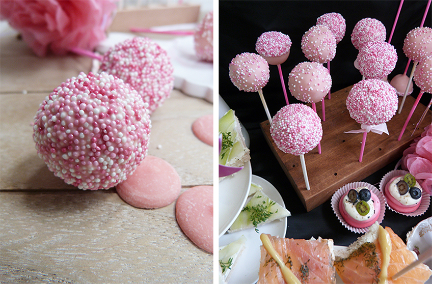 Die Sprinkles in Rosa, Weiß und Pink lassen die Cake Pops strahlen