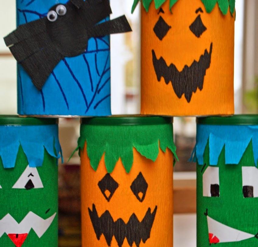 Dosenwerfen mit selbstgebastelten Halloween-Dosen (c) bunt-lecker.kreativ