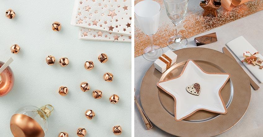 Rosegold sieht auf der Weihnachtstafel sehr elegant aus