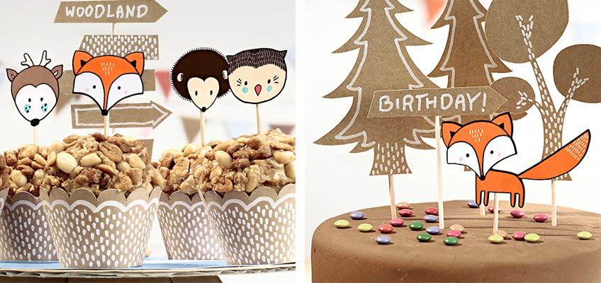Niedliche Wald-Deko für Kuchen, Muffins & Co