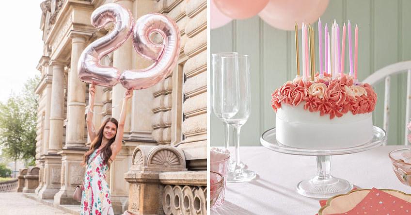 Zum Geburtstag feminine Rosendeko und fesche Folienballons, links (c) mamigurumi.de