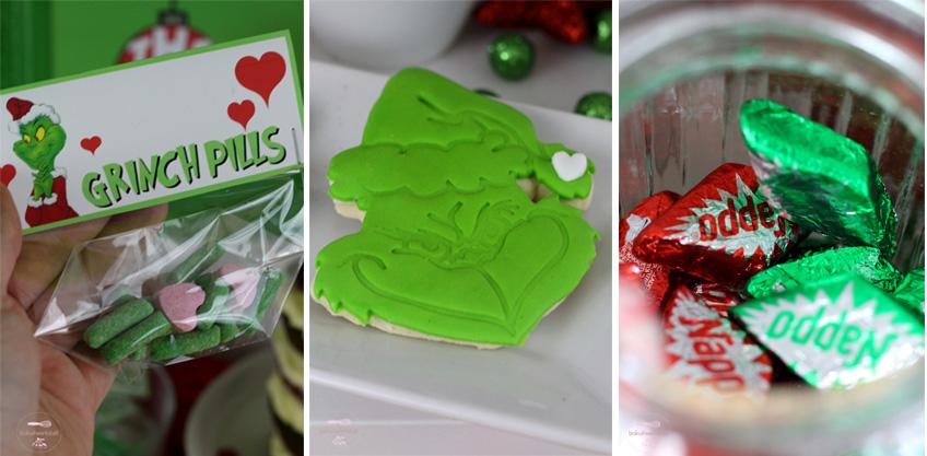 Was wäre ein grinchiger Partytisch ohne giftig-grüne Fondant-Kekse mit Gri(nch)masse