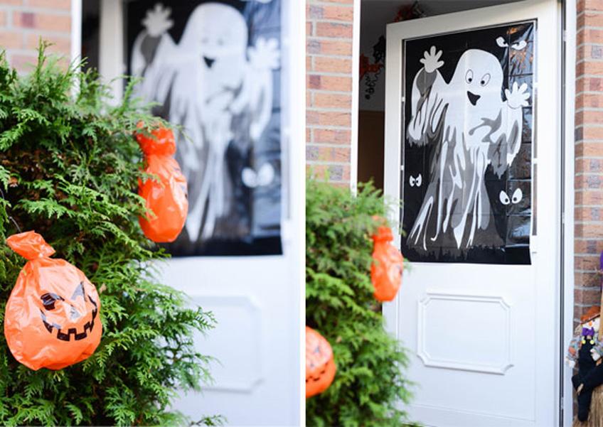 Geister und Kürbisse verbreiten Draußen Halloween-Laune