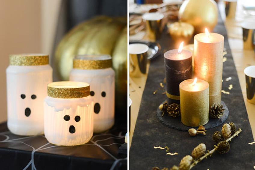 Elegante Halloween-Deko mit glänzenden Lichteffekten