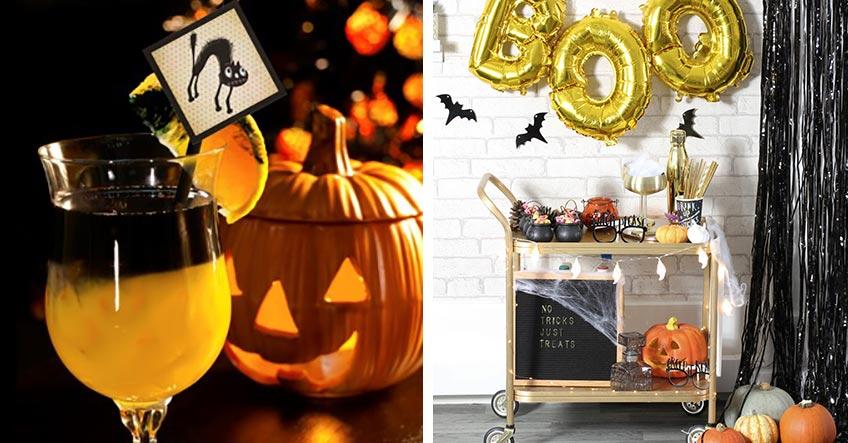 Richte deine Drinks auf einer elegant-spooky dekorierten Bar aus