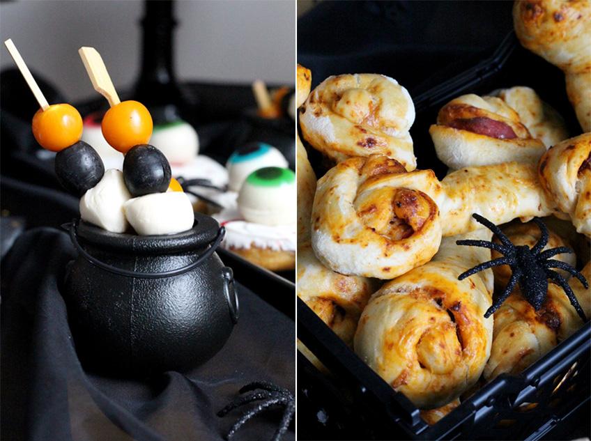 Snack zu Mitternacht - orange, schwarz, weiße Halloween-Spieße und Pizza-Schnecken