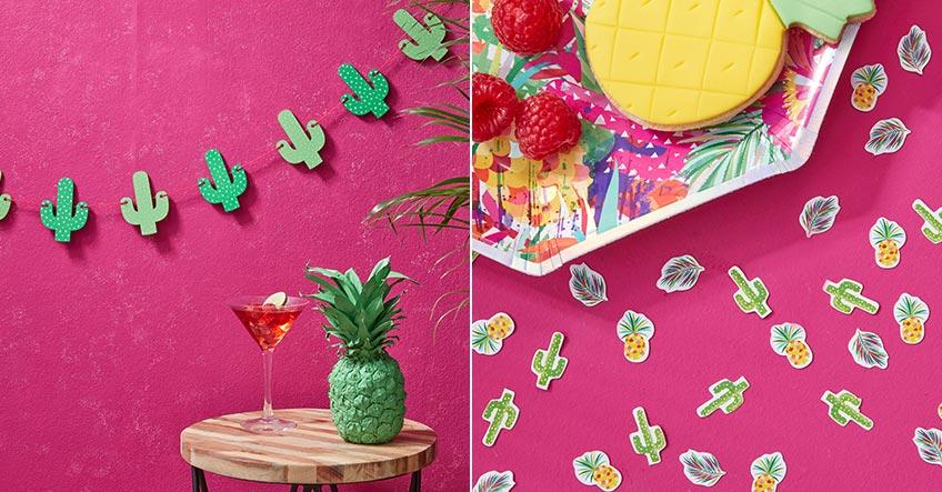 Sommerparty-Feeling mit dem Kaktus als Girlande und Streukonfetti