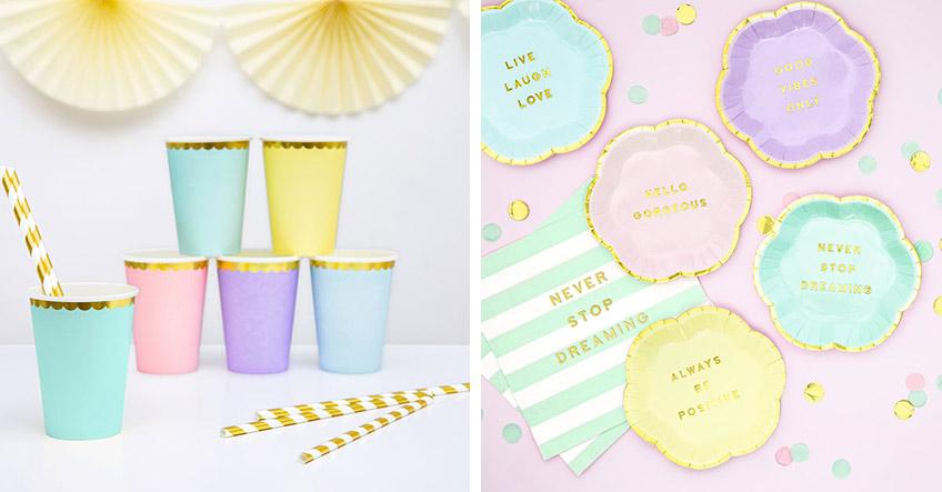 Buntes Geschirr in Pastell für die Eisparty zum Kindergeburtstag