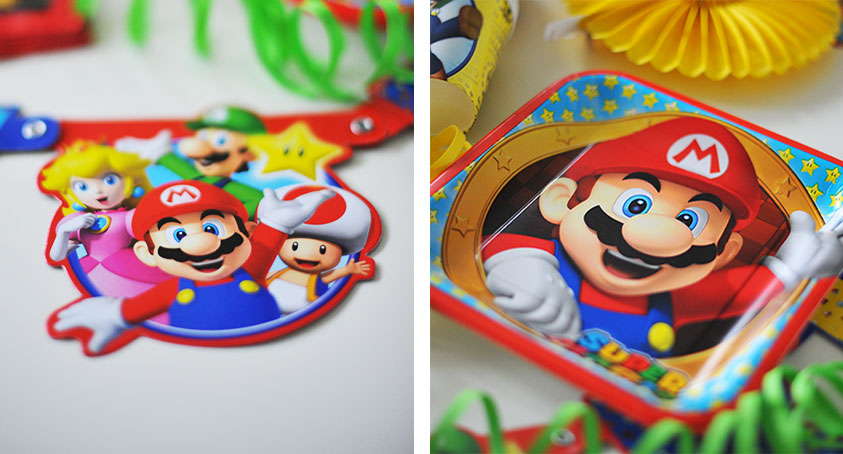 Die Super-Mario-Deko strahlt in kräftigen Farben