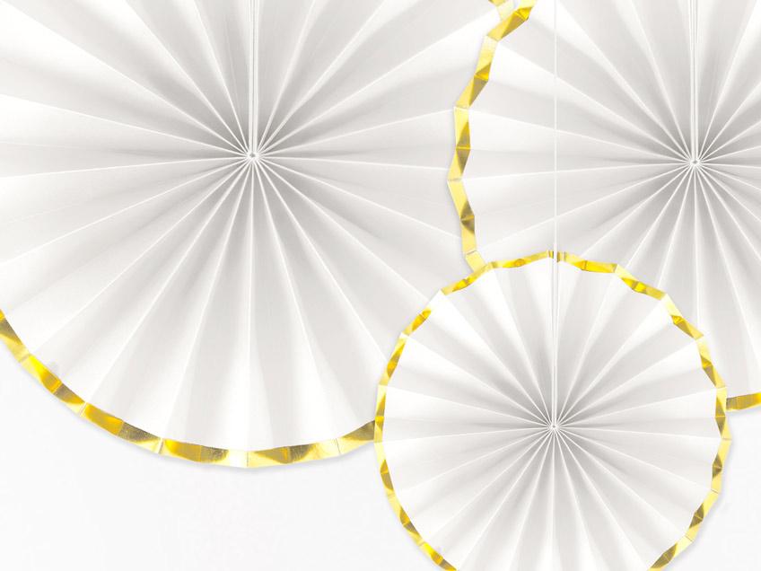 Klassisch und edel zur Kommunion - weiße Papierfächer mit Goldrand