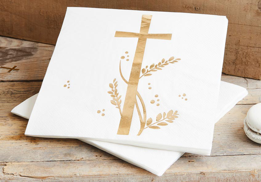Schön für die Kommunion - Servietten mit dem beliebten Kreuz-Symbol
