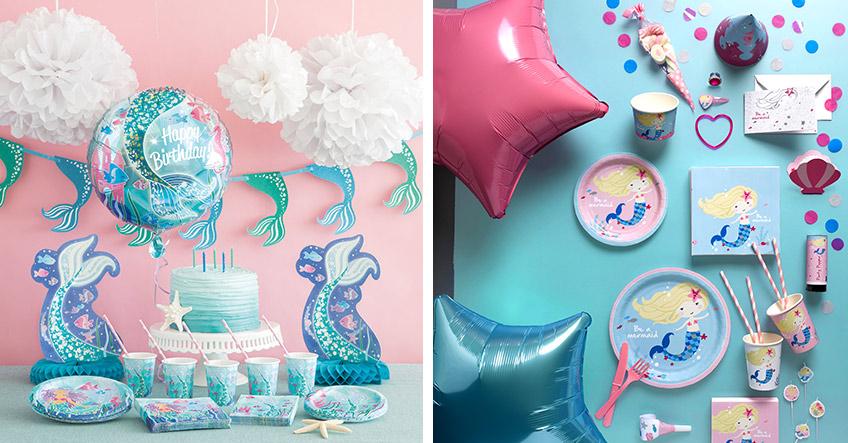 """Unterstreiche zum Kindergeburtstag mit Motto """"Meerjungfrau"""" das Thema durch Motiv-Deko"""