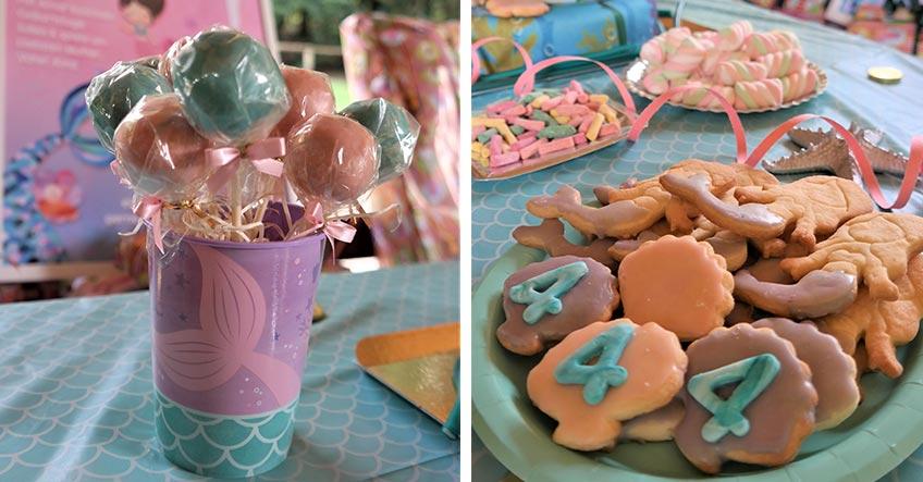 Maritime Plätzchen und bunte Cake Pops - eine Augenweide auf der Meerjungfrauen-Party