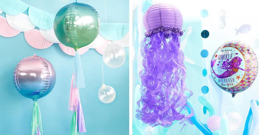 Geniale Motto-Deko zur Meerjungfrauen-Party - Ballons und Lampions, die wie Quallen aussehen