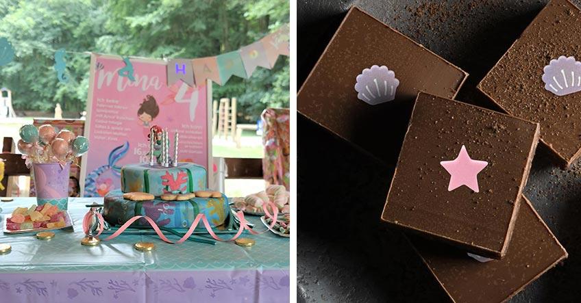 Meerjungfrauen-Torte und maritime Schokolade für die Mermaid-Party (c) links: lamiaswelt