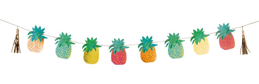 Die schimmernde Ananas Motivgirlande schmückt eure Party.