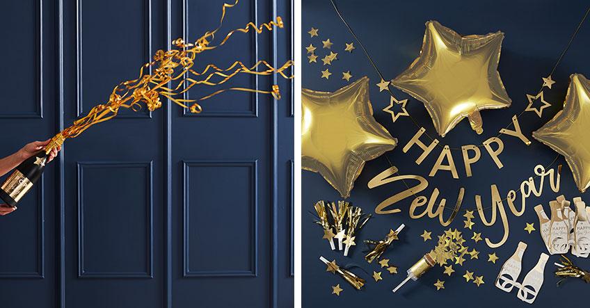 Happy New Year - Partydeko mit Aufschrift schafft Silvesterstimmung