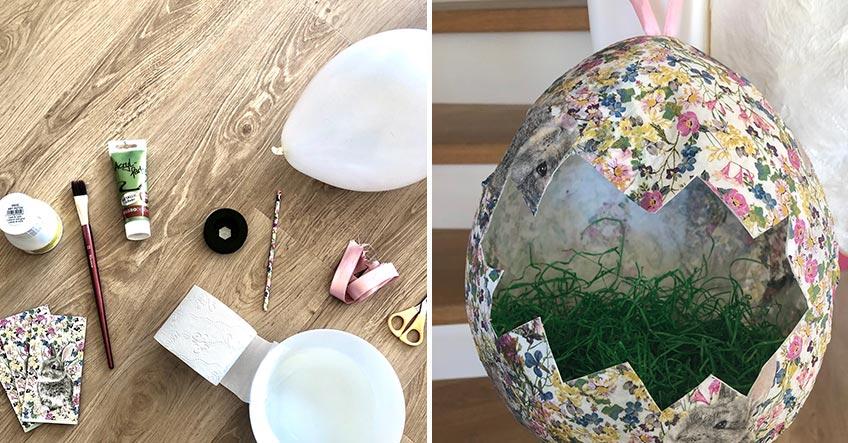 DIY Osterei leichtgemacht mit Luftballon, Klopapier, Wasser & Oster-Servietten
