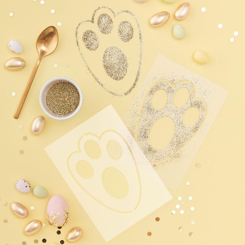 Zu Ostern süße Deko oder Hilfe beim Nestersuchen - die Hasenfuß-Schablone