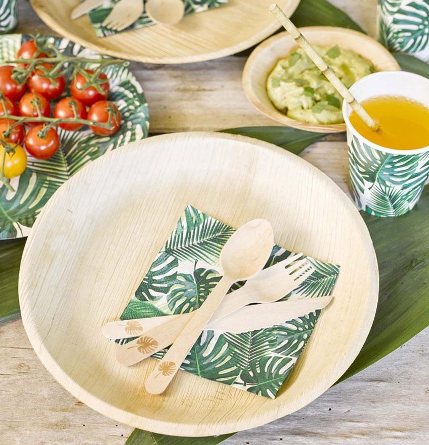 Das sommerliche Partygeschirr von Pure Nature aus Palmblatt