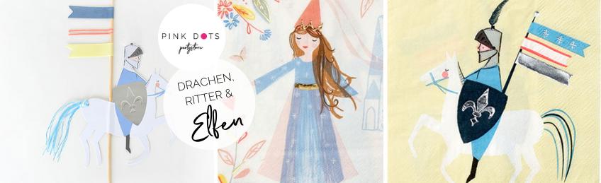 Mit Klick aufs Bild kommst du zur Meri Meri Deko mit Drachen und Rittern - die Prinzessinnen findest du im Shop bei den Mädchenpartys (c) Meri Meri