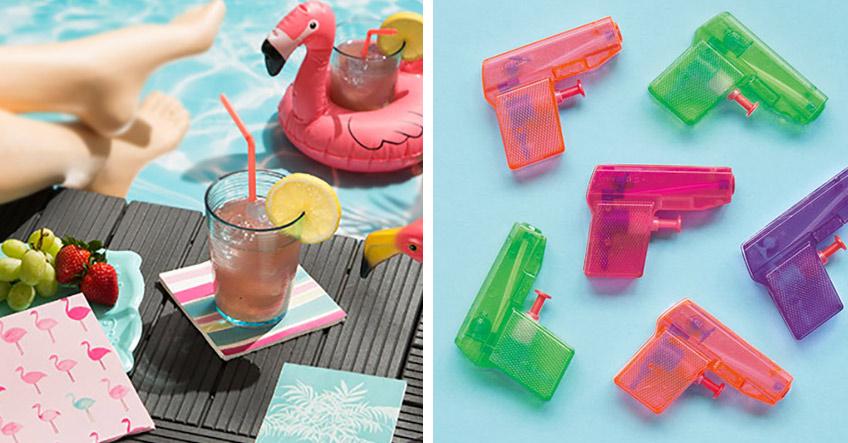 Schön und nützlich für die Poolparty - Schwimmtiere, bunte Servietten, Wasserpistolen