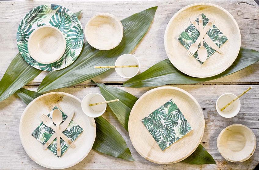 Umweltfreundliches Partygeschirr aus Palmblatt, Zuckerrohr, Bambus und Holz