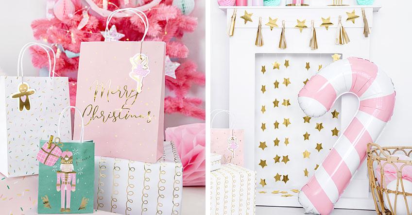 Tolle Deko - Weihnachtliche Motive im rosafarbenen Anstrich