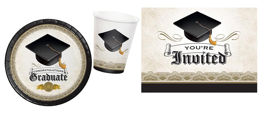 Der schwarze Absolventenhut ist ein klassisches Zeichen für den Schulabschluss und tolle Deko fürs Partygeschirr auf dem Abschlussfest