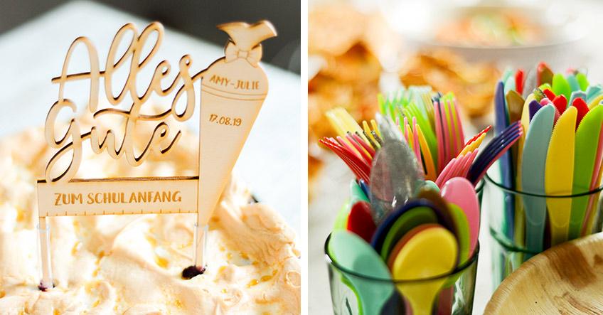 Auch die Tischdeko ist besonders fröhlich zur Einschulung - persönlicher Cake Topper und buntes Besteck (c) Nadine Bartholdt