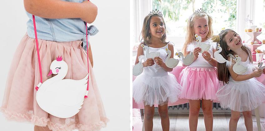 Mit Tutu verwandeln sich die Kids in Schwäne und Schwanenprinzessinnen - die Schwanenhandtasche eignet sich außerdem toll als Geschenk zum Motto