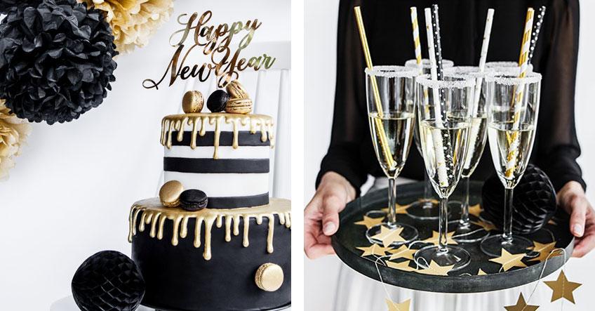 Mit den richtigen Accessoires zauberst du schnell und leicht tolle Silvesterdeko für Essen und Getränke