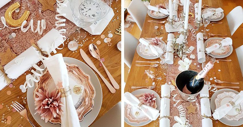 So kann der Silvester-Tisch in Rosegold aussehen (c) lxoxnxdxoxn