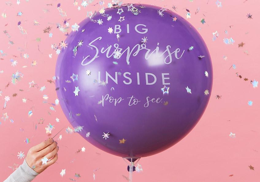Kleine Überaschungen wie der Gift-Reveal-Ballon krönen deine Party