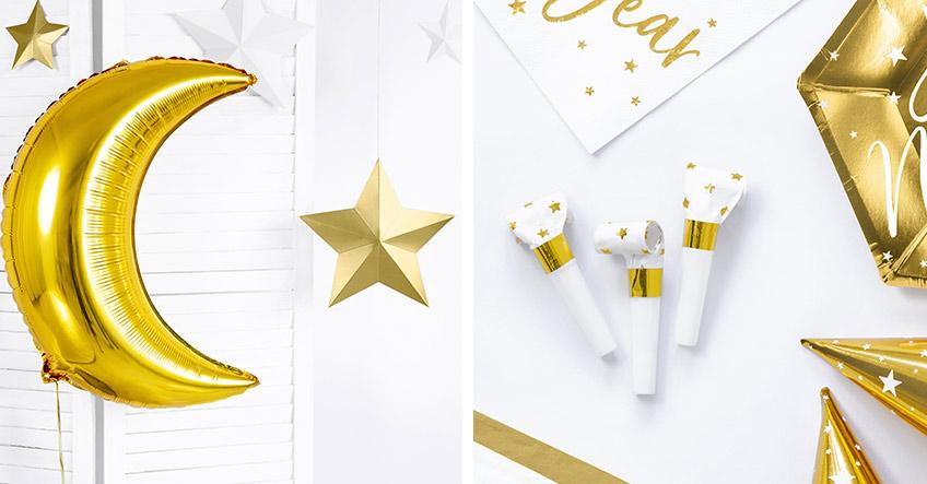 Silvester in stylisch und glammy mit Deko in Weiß & Gold