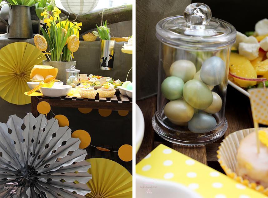 Die Deko in Gelb und Silber passt super zum Osterthema auf dem Sweet Table