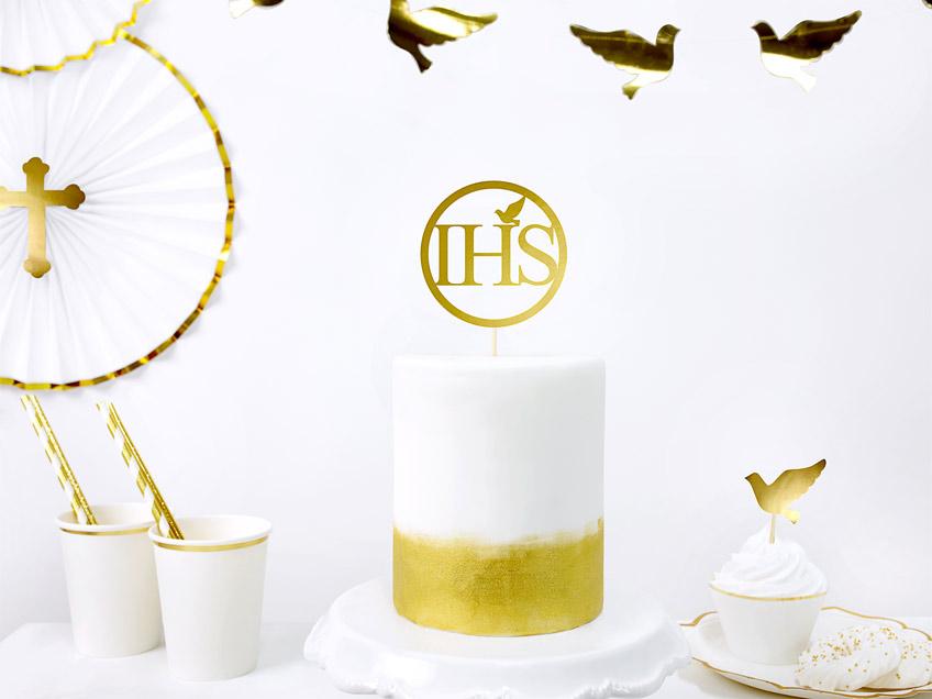 Das Symbol IHS ist ganz typisch für die Kommunion und als Cake-Topper eine schöne Idee