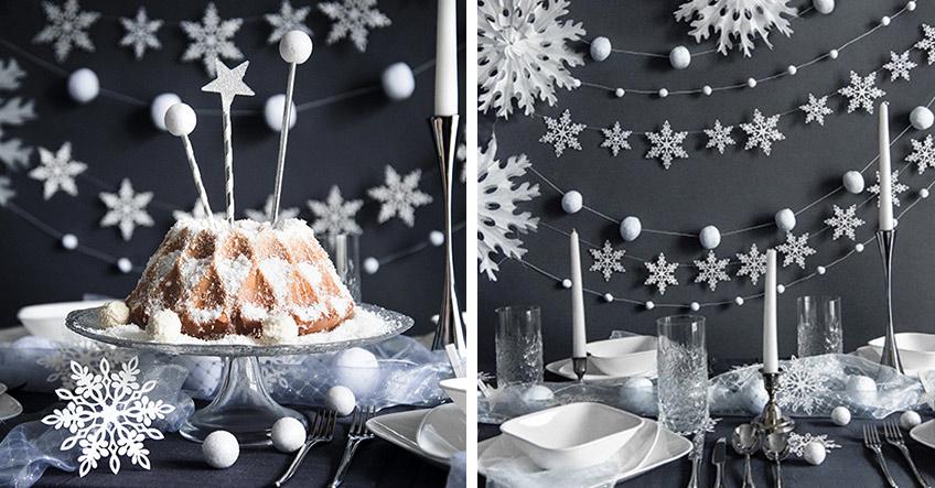 Eingeschneite Stimmung zu Weihnachten mit Schneeflocken-Deko