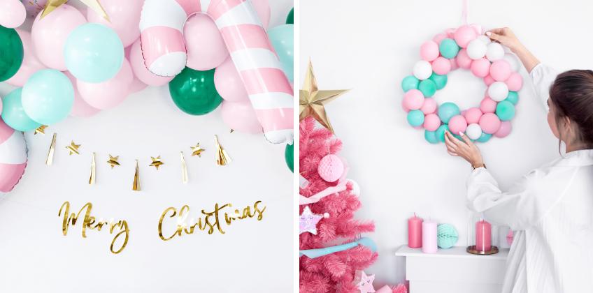 Rosarote Weihnachtsdeko mit Ballongirlande mit Motivballons und Adventskranz aus Luftballons