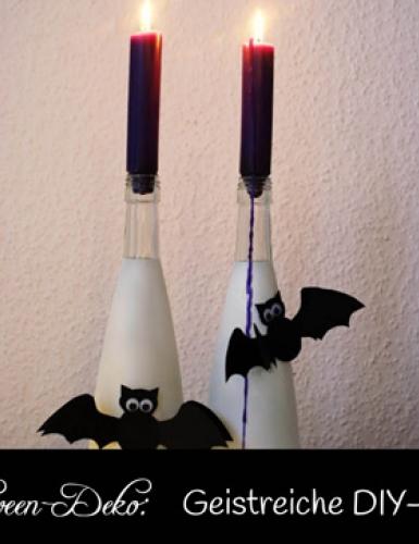 Gespenstisch schöne DIY-Lichtquelle zur Gruselparty: Halloween Flaschen einfach selbst gestaltet