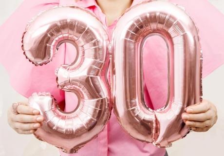 Eyecatcher auf dem 30. Geburtstag - Zahlen-Folienballon in Rosegold