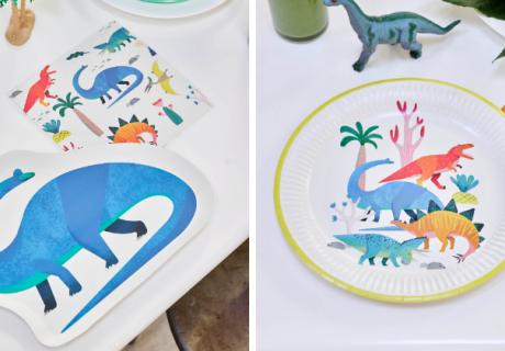 Lass die Dinos auf den Kindergeburtstag kommen - mit fröhlicher Motiv- und Shape-Deko