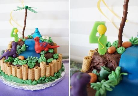 Dinosaurier Motiv-Torte als Highlight auf dem Kindergeburtsags-Büffet