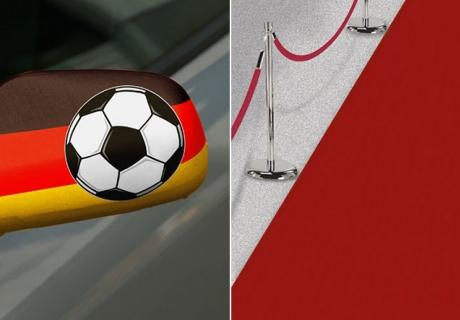Fußballparty-Flair schon bei der Ankunft erschaffst du mit coolen Accessoires