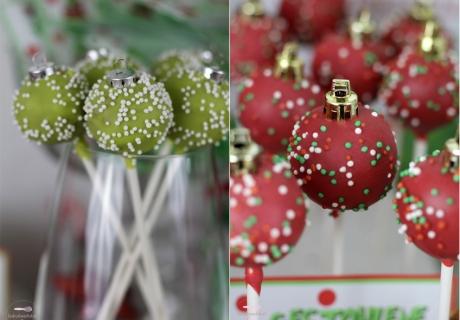 Die Cake Pops sind raffiniert im Weihnachtskugel-Look angerichtet