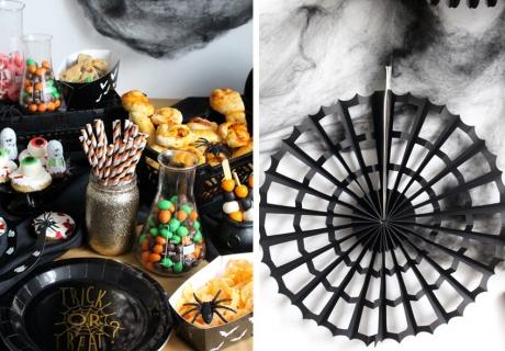 Spinnennetz und Monsteraugen tummmeln sich auf dem Halloween-Tisch